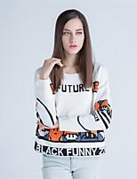 Для женщин На каждый день Простое Обычный Пуловер С принтом Контрастных цветов,Круглый вырез Длинный рукав Шерсть Акрил Полиэстер Осень