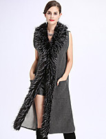 Women's Going out Simple Fall Winter Fur Coat,Solid V Neck Sleeveless Long Acrylic