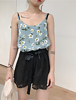 Women's Casual/Daily Cute Tank Top,Floral Round Neck Sleeveless Polyester