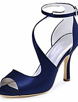 Women's Wedding Shoes Basic Pump Stretch Satin Summer Wedding Party & Evening Buckle Stiletto Heel Dark Purple Blue Dark Blue Black3in-3