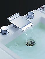 Современный Высокое качество Разбросанная Водопад with  Медный клапан Две ручки три отверстия for  Хром , Ванная раковина кран