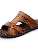 Men's Sandals Comfort Light Soles PU Spring Summer Casual Comfort Light Soles Beading Flat Heel Khaki Light Brown Dark Blue Under 1in
