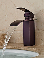Antique Centerset Waterfall with  Ceramic Valve Single Handle One Hole for  Oil-rubbed Bronze  Bathroom  Basin Sink Mixer Faucet