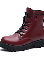 Men's Boots Comfort Fashion Boots Combat Boots Summer Fall Leather Outdoor Flat Heel Ruby Brown Black Flat