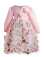 Robe Fille de Anniversaire Sortie Fleur Coton Polyester Automne Toutes les Saisons Manches longues