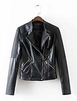 Для женщин Спорт На каждый день На выход Осень Зима Кожаные куртки Лацкан с острым углом,Простой Уличный стиль Однотонный ОбычнаяДлинный