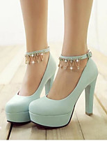 Women's Shoes PU Summer Comfort Heels For Casual White Blue Blushing Pink