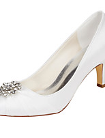 Women's Wedding Shoes Basic Pump Stretch Satin Spring Fall Wedding Party & Evening Basic Pump Crystal Stiletto Heel Ivory 2in-2 3/4in