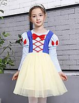 Vestido Chica de Cumpleaños Casual/Diario Vacaciones Caricaturas Un Color Floral Algodón Poliéster Manga Larga Primavera Otoño