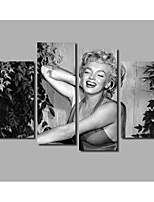Movie Star Marilyn Monroe Oil Painting Printed on Canvas 4Panels Framed Posters & Prints For Modern Home Livingroom Wall Art