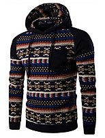 Men's National Wind Spell Color Hooded Casual Sweater Coat