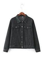 Для женщин На выход На каждый день Весна Осень Джинсовая куртка Рубашечный воротник,Уличный стиль Однотонный Обычная Длинный рукав,Хлопок