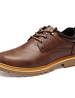 Men's Oxfords Comfort Leather Fall Casual Outdoor Flat Heel Brown Gray Black Fashion Shoes