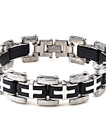 Men's Chain Bracelet Jewelry Fashion Rock Silica Gel Stainless Cross Jewelry For Office/Career Dailywear Casual/Daily