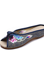 Women's Shoes Fabric Spring Comfort Slippers & Flip-Flops For Casual Black Red Blue