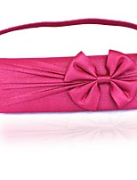 Women Bags All Seasons Silk Evening Bag with Bow(s) Pleated for Wedding Event/Party Casual Formal Outdoor Fuchsia Wine