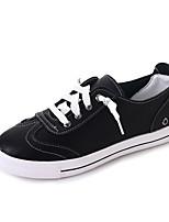 Для женщин На плокой подошве Удобная обувь Осень Полиуретан Повседневные Для праздника Шнуровка На плоской подошве Белый Черный
