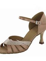 Damen Latin Seide Sandalen Aufführung Verschlussschnalle Stöckelabsatz Gold Schwarz Purpur Mandelfarben 7,5 - 9,5 cm Maßfertigung