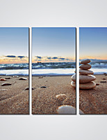 Canvas Print Some Stones on the Beach Seascape Print Art for Wall Decoration Ready to Hang 30x60cmx3pcs