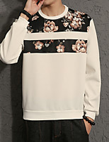 Men's Plus Size Casual Round Neck Floral Stitching Sweatshirt  Cotton Spandex