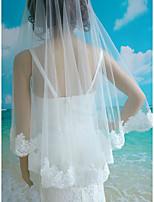 Wedding Veil One-tier Elbow Veils Lace Applique Edge Lace Tulle