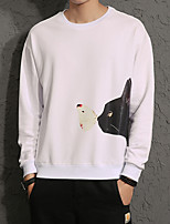 Men's Plus Size Casual Slim Cat Pattern Printed Sweatshirts Cotton Spandex