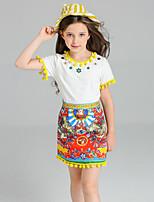 Girls' Print Jacquard SetsCotton Spandex Summer Clothing Set