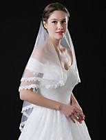 Lady's Elegant Romance Wedding Veil One-tier Blusher Veils Lace Applique Edge Lace Tulle