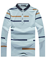 Men's Sports Plus Size Beach Holiday Going out Casual/Daily Work Club Cute Street chic Active Spring Fall Polo,Solid Striped Rainbow