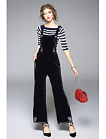 ZIYI Women's Casual/Daily Simple Fall T-shirt Pant SuitsSolid Striped Round Neck Long Sleeve