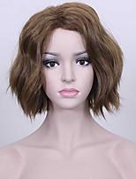 longitud media color marrón middel pelo ondulado largo europeas pelucas sintéticas para la peluca de las mujeres