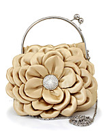 Women Bags Winter All Seasons Silk Tote with Rhinestone Petals for Wedding Event/Party Casual Formal Outdoor White Black Red Beige