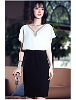 AGD  Women's Going out Cute Sheath DressColor Block V Neck Above Knee Short Sleeve Polyester Summer Mid Rise Micro-elastic Medium