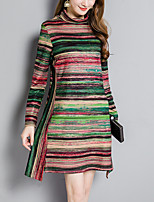 Women's Plus Size Going out Simple Street chic Slim Thin A Line Dress Striped Color Block Turtleneck Asymmetrical Long Sleeves Fall