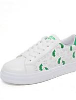 Women's Sneakers Comfort Spring PU Casual Black Green Blushing Pink Flat