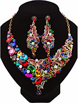 Femme Boucles d'oreille goutte Collier Mode Personnalisé Bijoux de Luxe Zircon Alliage Forme de Noeud PourMariage Soirée Anniversaire