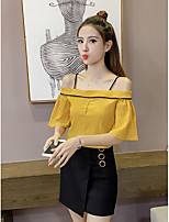 Women's Going out Casual/Daily Cute Summer Blouse,Solid Boat Neck Short Sleeve Others