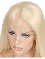 Blonde Human Hair Full Lace Wig Silky Straight 613 Color Remy Hair Middle Part With Bleached Knots Hand Tied