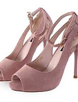 Femme Chaussures de mariage Confort Cuir Nubuck Printemps Eté Décontracté Noir Rose 10 à 12 cm