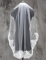 Bride Wedding White / Ivory Veil One-tier Elbow Veils Fingertip Veils Lace Applique Edge Lace Tulle