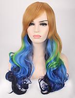 Mujer Pelucas sintéticas Sin Tapa Largo Ondulado Azul Peluca de cosplay Las pelucas del traje