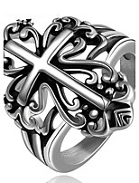 Men's Band Rings Jewelry Punk Stainless Steel Cross Jewelry For Daily Evening Party