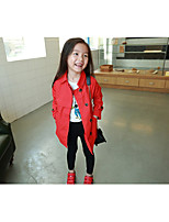 Girls' Solid Trench Coat,Cotton Fall Winter Long Sleeve