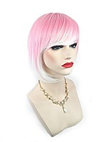 Women Synthetic Wig Capless Short Straight Pink Highlighted/Balayage Hair Bob Haircut With Bangs Lolita Wig Halloween Wig Cosplay Wig