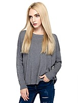 Women's Going out Casual/Daily Simple Street chic Regular Pullover,Solid Round Neck Long Sleeves Cotton Nylon Fall Winter Medium