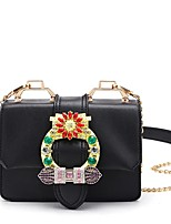 Women Bags All Seasons PVC Shoulder Bag with Crystal/ Rhinestone for Event/Party Casual White Black