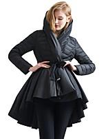 Пальто Простое Уличный стиль Длинная Пуховик Для женщин,Однотонный На выход На каждый день Хлопок Полиэстер Пух белой утки,Длинный рукав