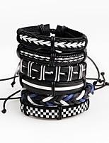 Men's Leather Bracelet Wrap Bracelet Personalized Multi-ways Wear Leather Line Irregular Jewelry For Stage Club