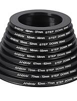 andoer 18pcs 37-49-52-55-58-62-67-72-77-82mm step / step down filtre filtre anneau métallique kit anneau