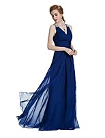 A-Line V-neck Floor Length Chiffon Satin Formal Evening Wedding Party Dress with Crystal Detailing Draping Side Draping by W.JOLI